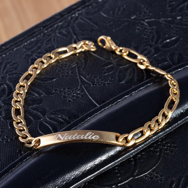 Armband mit Gravur und Figarokette in gold (21 cm)