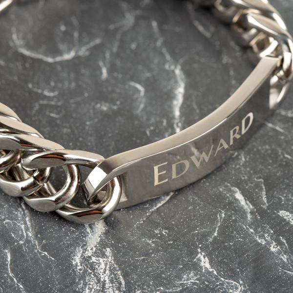 Edelstahl Armband mit Gravur für Männer in silber (22cm)