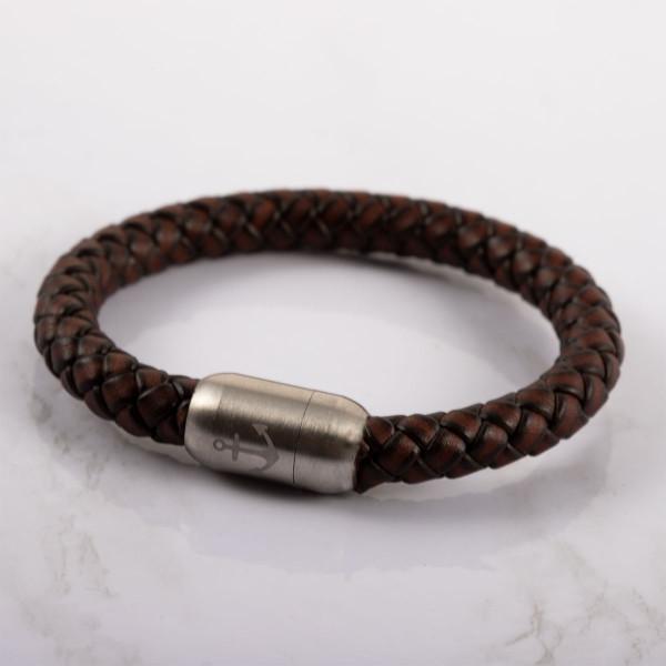 Anker Armband in braun aus Leder