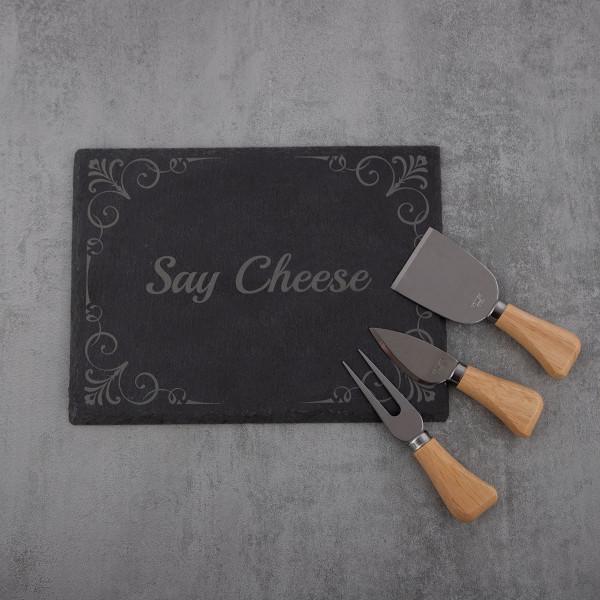 Käse-Servier-Set aus Schiefer