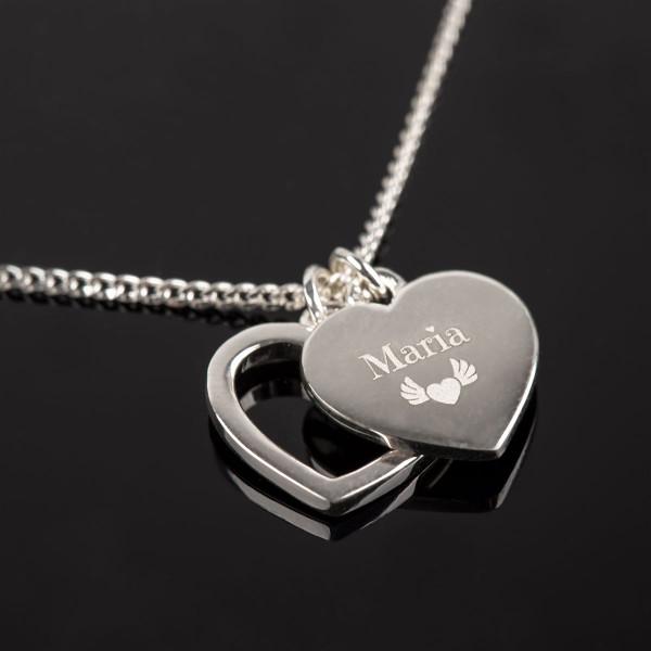 Herz Halskette mit Anhängern und Gravur in silber - 925 Silber
